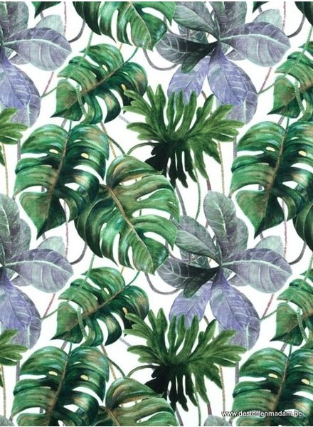 digital print jungle leaves - jersey