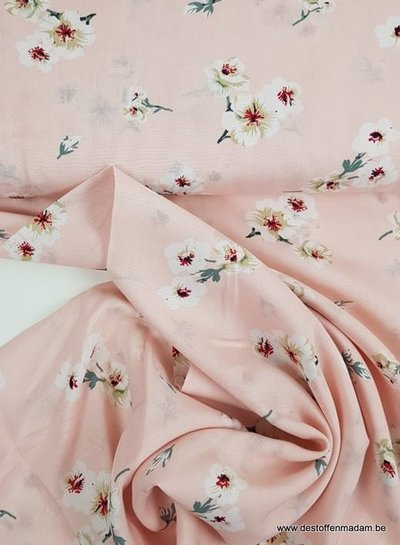 flowers pink - viscose