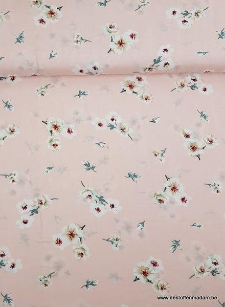 bloemen babyroze - viscose