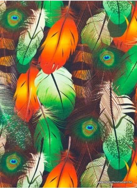 digitale print peacock feathers - jersey