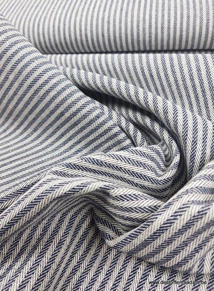 marine streepjes - washed canvas - deco stof