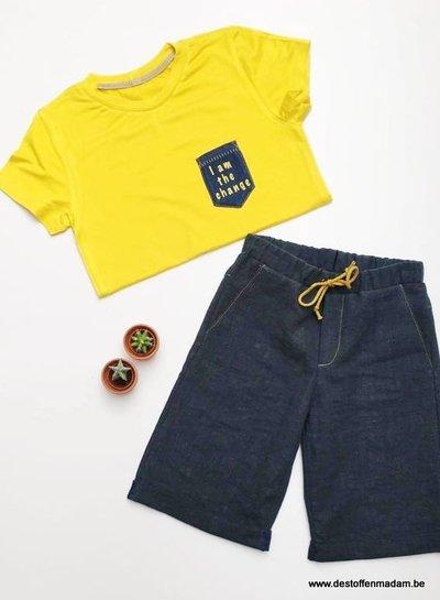 indigo blauw - bamboe jersey