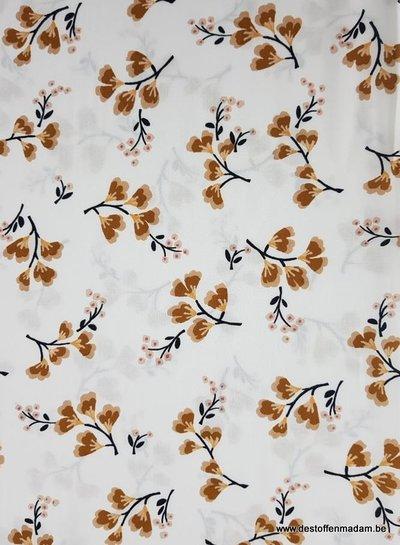 ecru spring flowers - Italian viscose