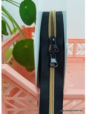gold - endless zipper with sliders - 1 slider per 50 cm