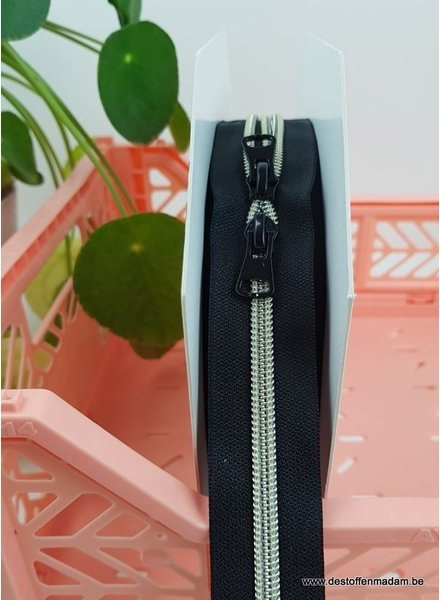 silver - endless zipper with sliders - 1 slider per 50 cm