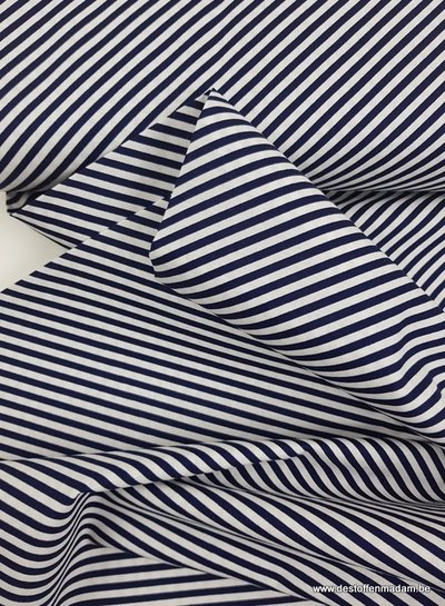 navy simple bias stripes - katoen