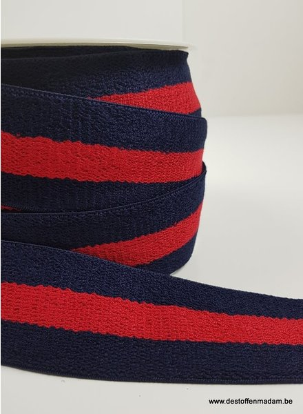 terry elastic - navy/red