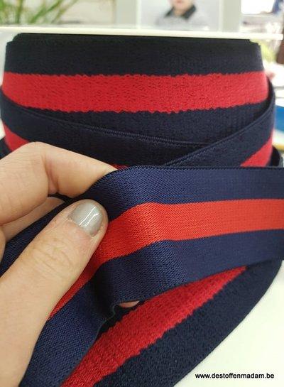 double face terry taille elastiek - marineblauw/rood