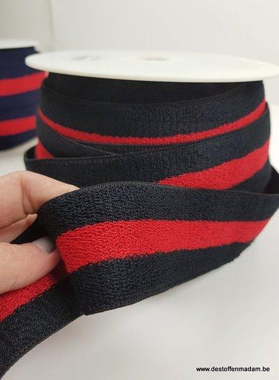 double face terry taille elastiek - zwart/rood