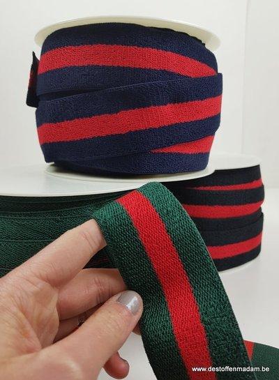 double face terry taille elastiek - groen/rood
