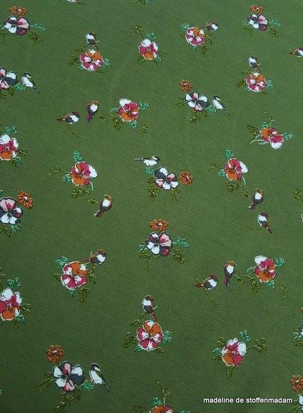 khaki modal flowers - french terry
