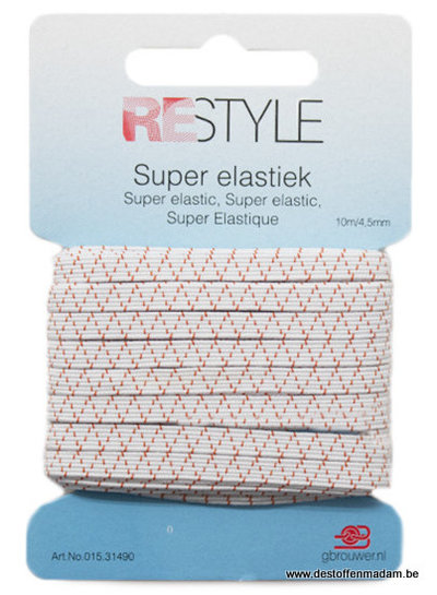 witte super elastiek  - 4,5mm