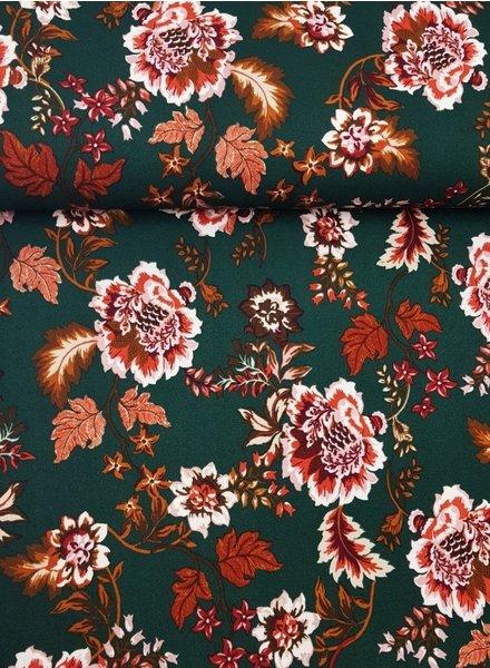 green flowers- Scuba crepe