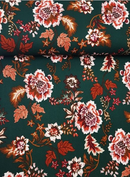 groene bloemen - Scuba crepe