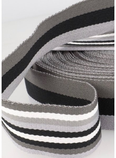 grijs gestreept 40 mm dubbelzijdige tassenband