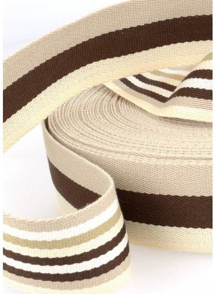 bruin gestreept 40 mm dubbelzijdige tassenband