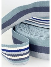 blauw gestreept 40 mm dubbelzijdige tassenband