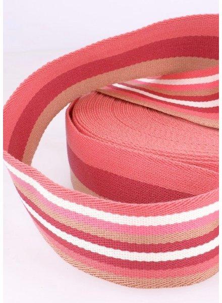 roze gestreept 40 mm dubbelzijdige tassenband