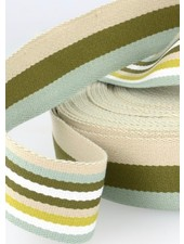 khaki gestreept 40 mm dubbelzijdige tassenband