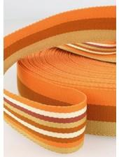roest dubbelzijdige tassenband gestreept 40 mm