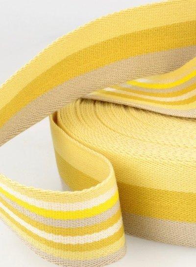 geel dubbelzijdige tassenband gestreept 40 mm