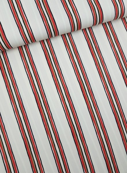 red stripes - stretch fabric