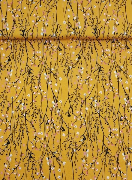 mustard spring twigs - tricot