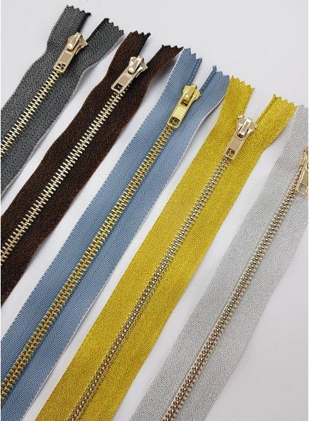 silver metallic zipper - 40 cm