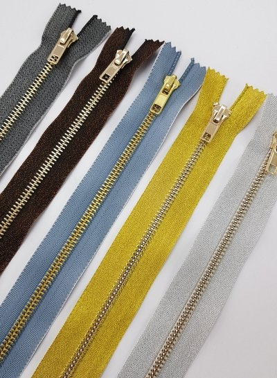 goud metallic rits - 40cm