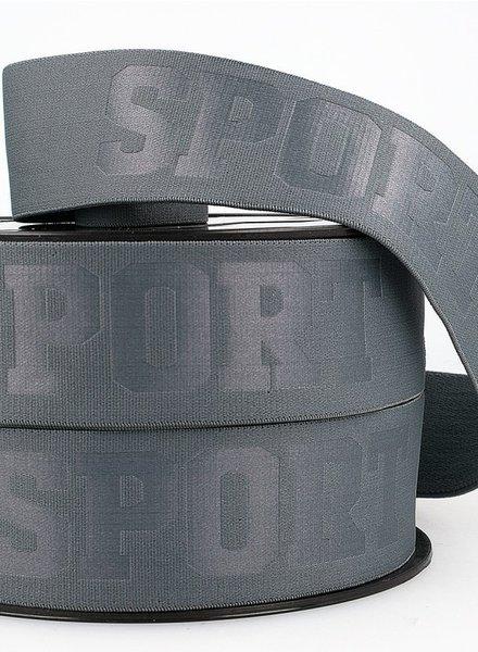 grijs 3D sport elastiek - 40 mm