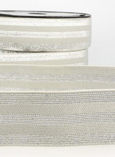 grey silver striped - elastic 40 mm
