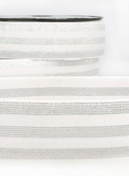 cream silver striped- elastic 40 mm