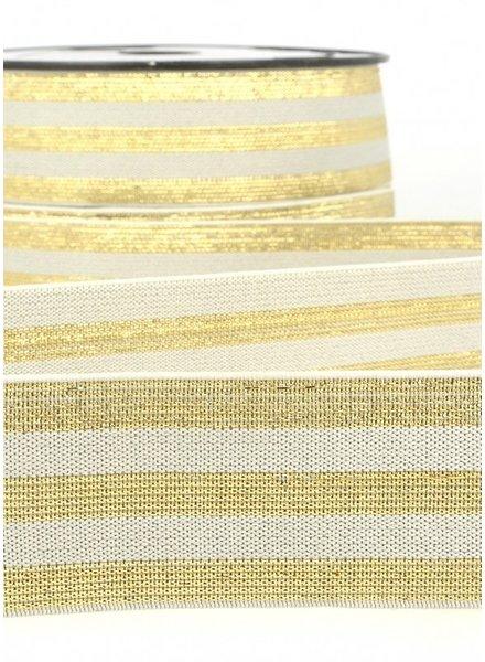 grey gold striped elastic - 40 mm