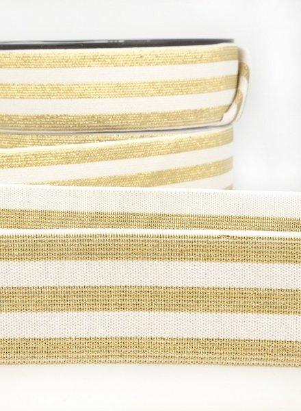 M cream gold striped elastic  - 40 mm
