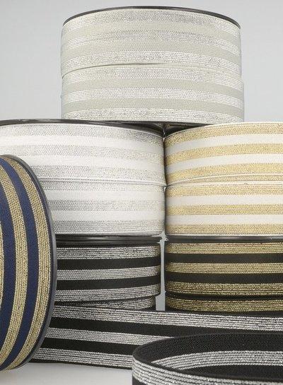cream gold striped elastic  - 40 mm