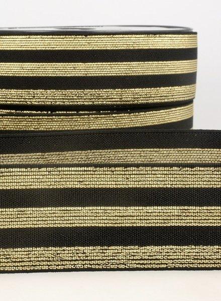 black gold striped elastic - 40 mm