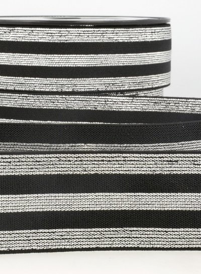 black silver striped elastic - 40 mm