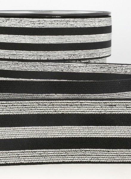 zwart zilver gestreept - taille elastiek 40 mm