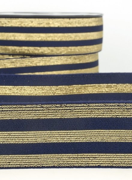 navy gold striped elastic - 40 mm