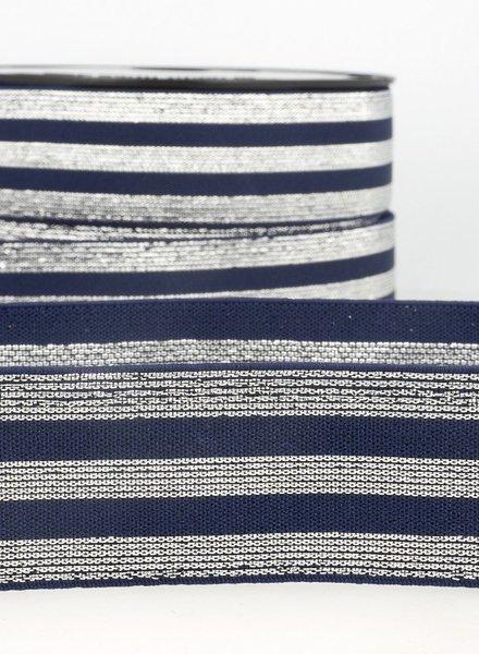 marinblauw zilver gestreept - taille elastiek 40 mm