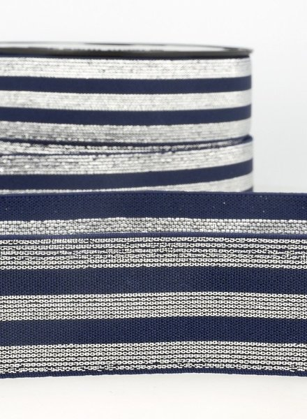 navy silver striped elastic - 40 mm