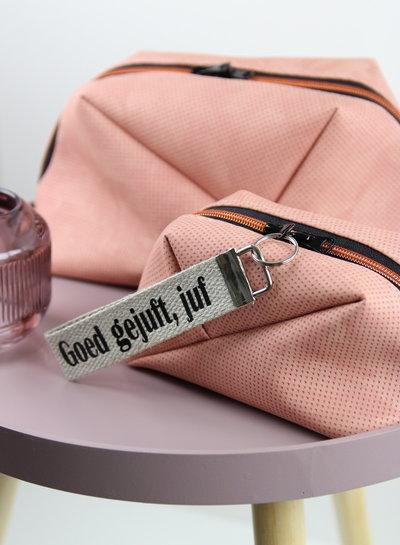 roze stipjes - tassen leer