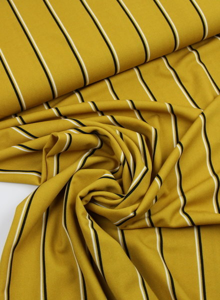 ocre stripes - viscose crepe
