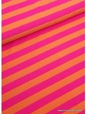 fluo pink/orange striped swimsuit fabric