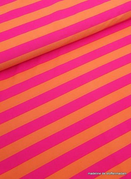 fluo roze/oranje strepen badpak