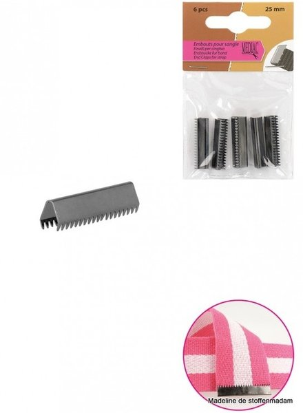 riemklem zwart nikkel 35 mm verpakt per 4