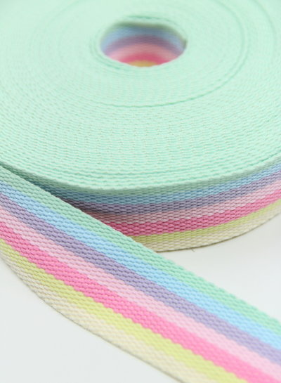 rainbow bag webbing pink 40 mm