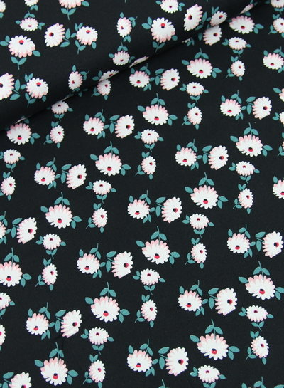 black retro flower - moss crepe