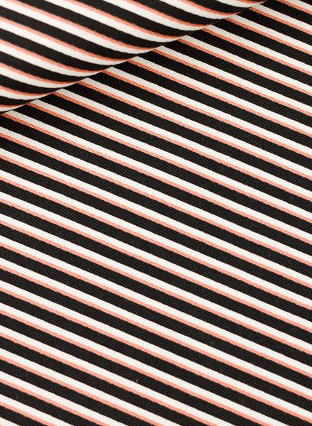 See You at Six diagonals - katoen canvas gabardine twill - zwart wit koper