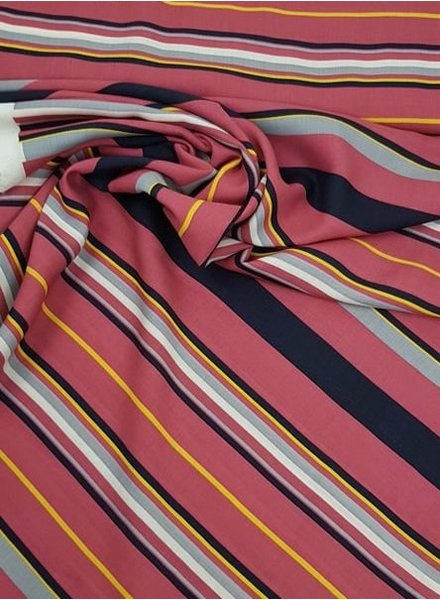 pink stripes and yellow - viscose